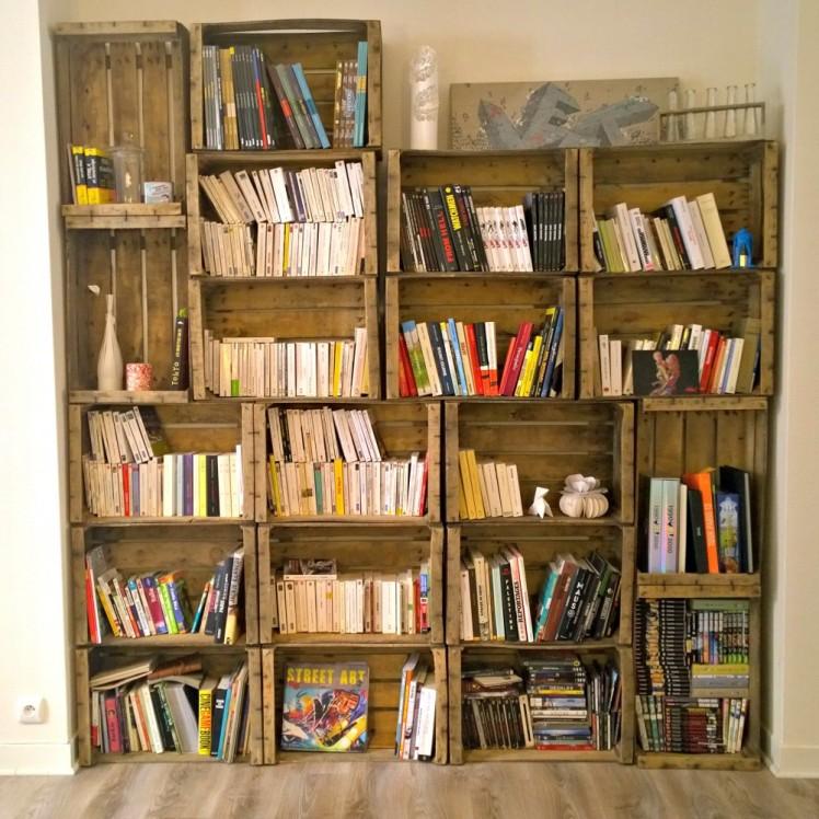 Deco une biblioth que maison en bois de cagettes - Bibliotheque caisse bois ...